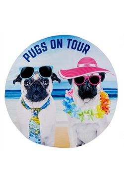 Paradise Pugs On Tour Beach Towel
