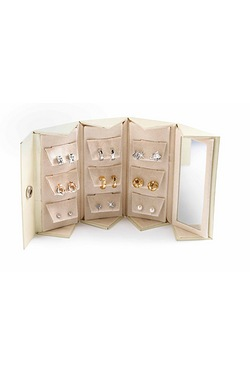 Cream Earring Travel Set