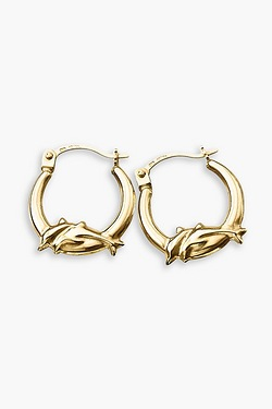 9ct Gold Dolphin Creole Earrings