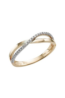 9ct Gold CZ Cross Over Ring