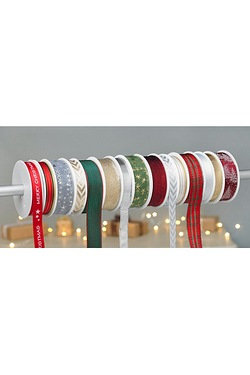 Pack Of 15 Christmas Ribbon Spools
