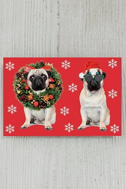 8 Self-Adhesive Tags - Pugs