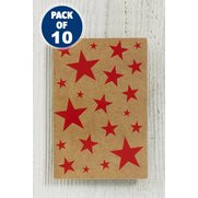 10 Red Kraft Stars Self-Adhesive Tags