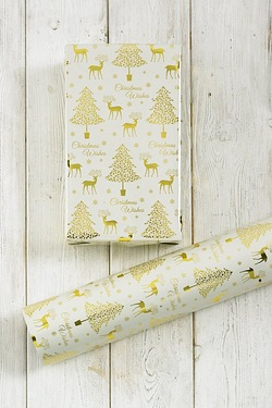 Gold Reindeer and Tree Printed Foil...