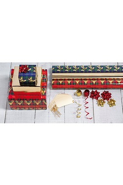 Tartan and Gold Foil Trio Gift Wrap...