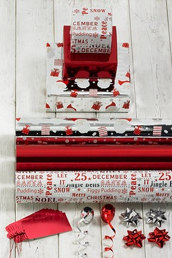 Red and Silver Foil Trio Gift Wrap Set