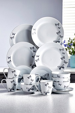 16-Piece Grey Butterfly Porcelain D...