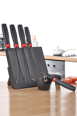 5-Piece Black and Red Knife Block W...