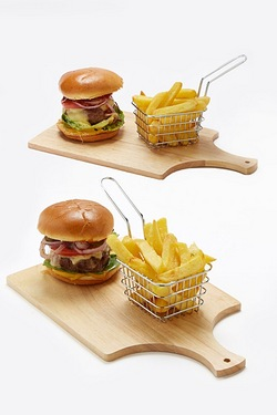 Set Of 2 Wooden Boards and Chip Baskets