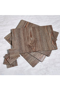 Set Of 4 Wood-Effect Placemats With...