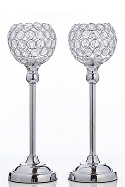 Set Of 2 Tall Jewelled Tea Light Holders