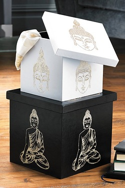Set Of 2 Thai Buddha Storage Boxes