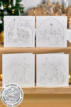 12 Christmas Carols Pearlised Cards