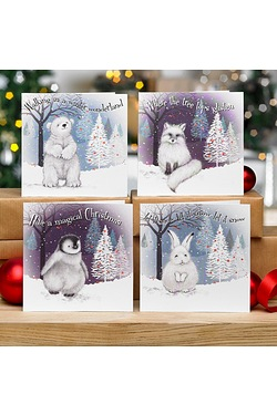 Pack Of 10 Cute Snow Animals Cards