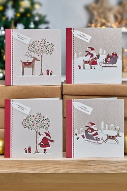 Pack Of 10 Modern Santa Cards