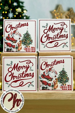 Pack Of 12 Vintage Santa Cards