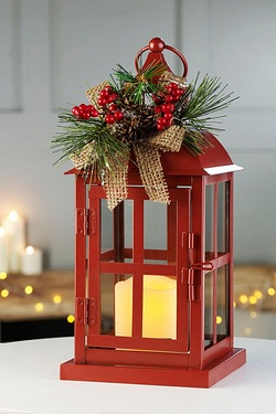 Red Lantern With Flickering LED Candle