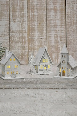 Set Of 3 Wooden Village