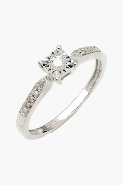 9ct White Gold 15pt Diamond Ring