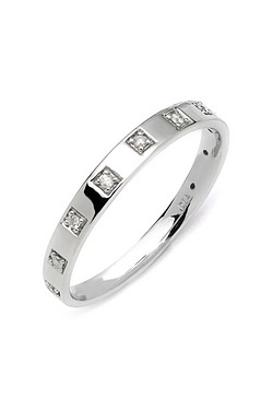 9ct White Gold Square Diamond Ring