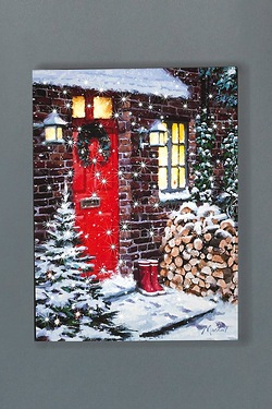 LED Winter Logs Canvas