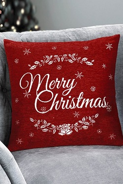 Merry Christmas Chenille Cushion