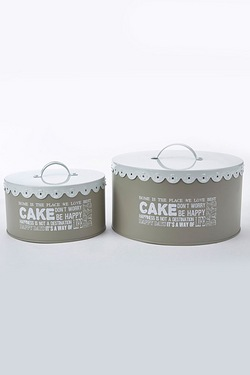 Set Of 2 Lace Top Cake Tins