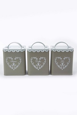 Set Of 3 Lace Top Canisters