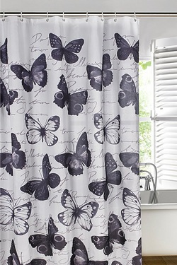 Butterfly Script Shower Curtain