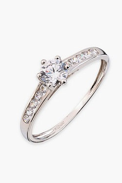9ct White Gold CZ Ring