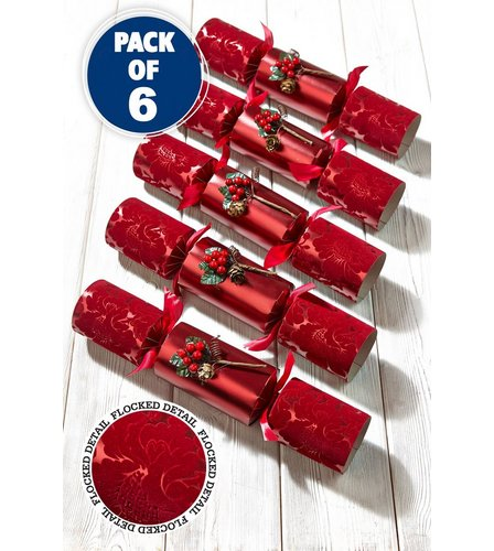 Image for 6 Beautiful Luxury Burgundy Flocked Crackers from ace