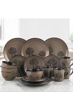 16-Piece Mocha and Black Trees Reac...