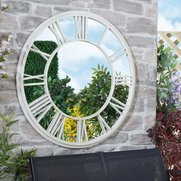 Metal And Glass Garden Clock Mirror