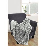 Printed Leaf Mink Throw