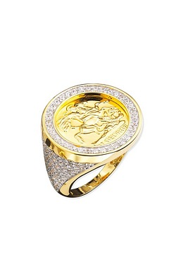 GPD CZ Medalion Ring 18ct Gold Plated