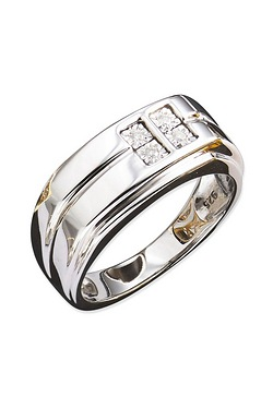 Silver Gents 5pt 4 Stone Diamond Ring