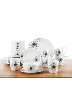 24 Piece White Blossom Dinner Set