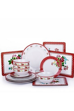 16 Piece Retro Rose Dinner Set & Pl...