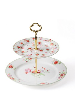 Red Rose Bone China Cake Stand
