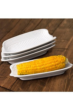 4 Piece White Corn On The Cob Dishes