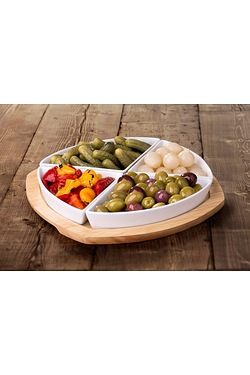 4 Piece Platter Bowls With Round Wo...