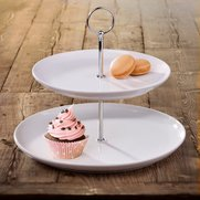 2 Tier Round Rimmed Cake Stand