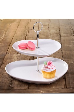 2 Tier Heart Shaped Cake Stand