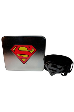 Superman Logo Buckle Belt In A Tin