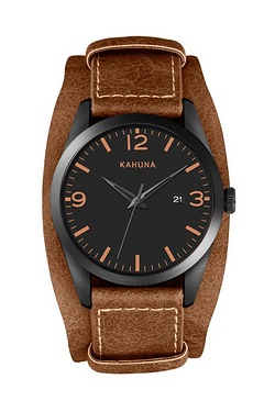 Mens Kahuna Tan Suede Cuff Watch