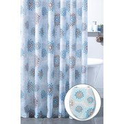 Teal Modern Floral Shower Curtain A...