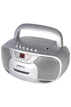 Groove-e Classic Boombox Portable CD & Cassette Player with Radio - Silver
