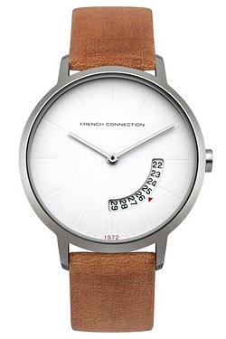 French Connection Leather Strap Wat...