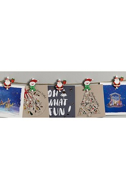 12 Santa and Snowman Card Holder Pegs