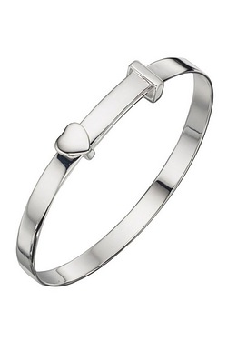 Sterling Silver Baby Bangle with He...